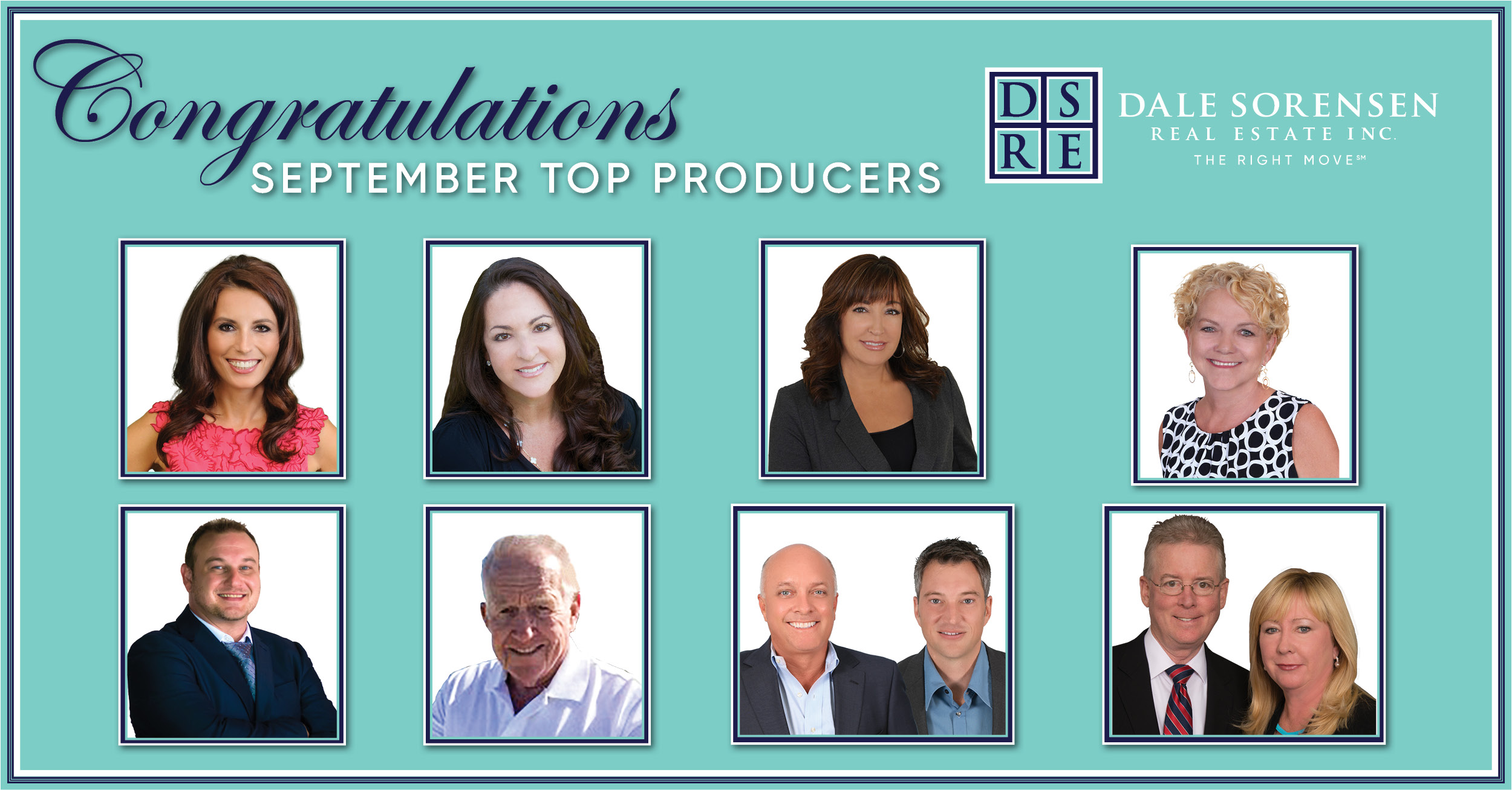 Congratulations September Top Producers Dale Sorensen Real Estate INC The Right Move
