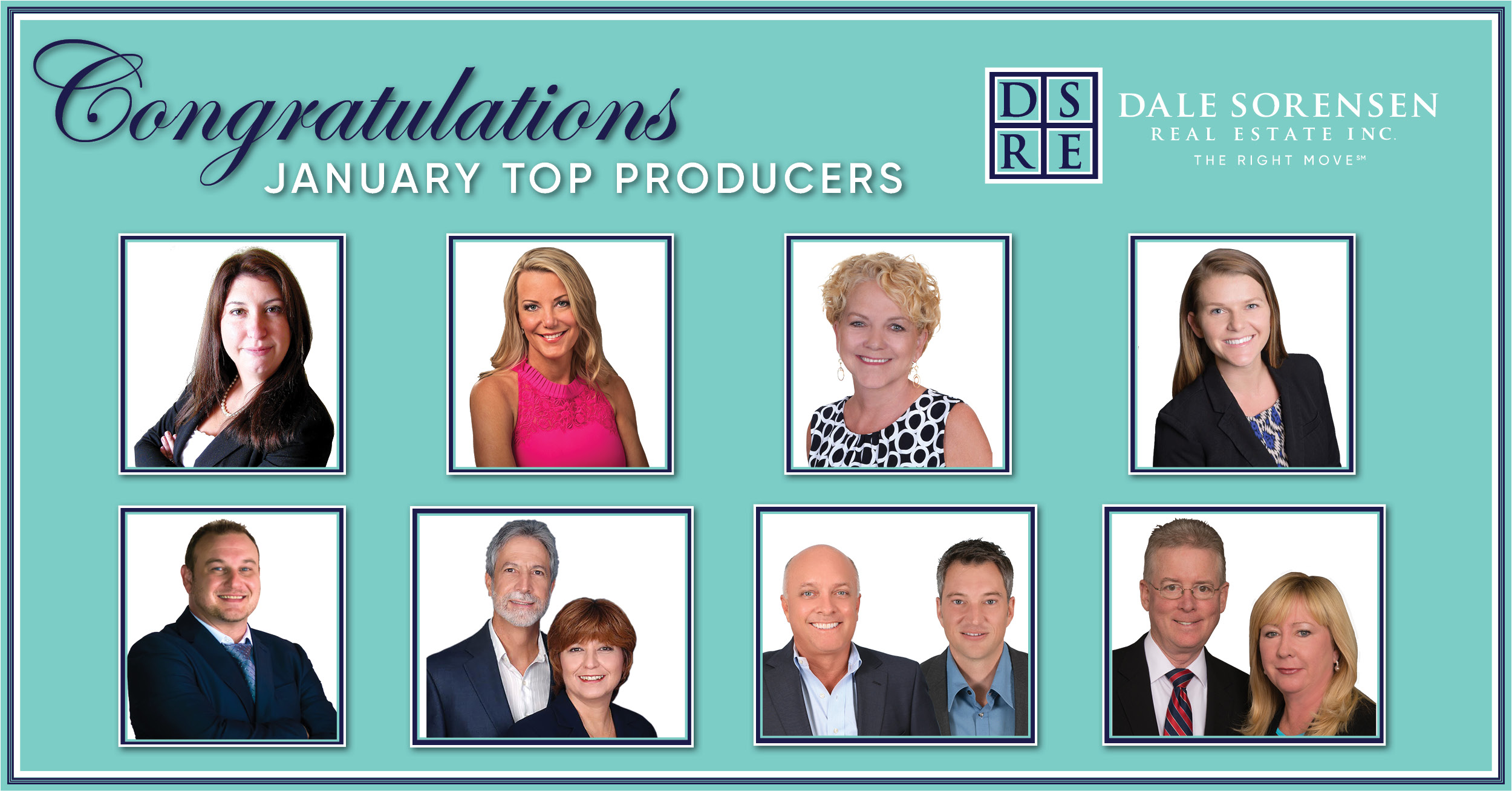 Congratulations January Top Producers Dale Sorensen Real Estate INC The Right Move