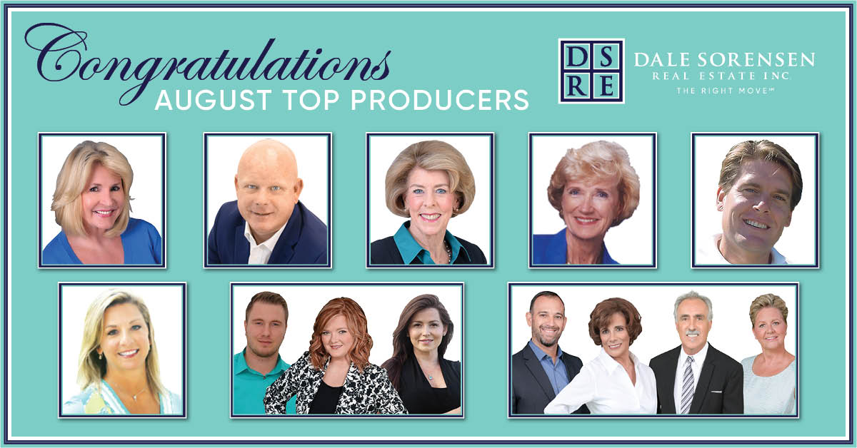 Congratulations August Top Producers | DSRE Dale Sorensen Real Estate Inc. THE RIGHT MOVE